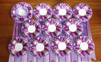 комплект розеток из атласной ленты фиолетовый