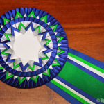 розетка из лент Вирджиния сине-зеленая